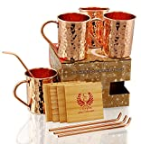 GIFT SET – COPPER MUGS WITH COPPER STRAWS AND...