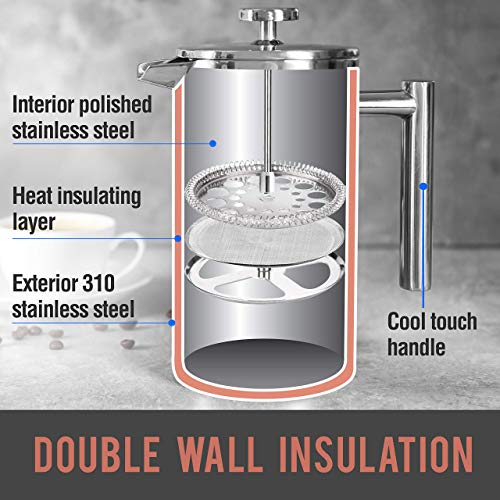 Mueller French Press Double Insulated 310 Stainless Steel Coffee Maker 4 Level Filtration System, No Coffee Grounds, Rust-Free, Dishwasher Safe 16