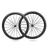 ICAN Alpha 50 Ruedas de Carbono Remachador Tubeless Listo Bici Carretera Ruedas 20/24 Agujeros Shimano 10/11 V