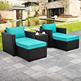 Valita 5-Piece Outdoor PE Wicker Furniture Set, Patio Black All Weather Resin Rattan Chairs and Ottomans,Sectional Conversation Sofa Set with Turquoise Cushion