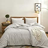 Striped Duvet Cover Sets 3 Pieces, Zipper Closure Soft Washed Microfiber Comforter Cover, Beige and White Striped (King Size)