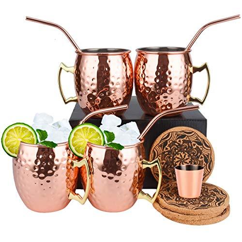 Moscow Mule Copper Mugs Set di 4 tazze di rame (PREMIER) Coppe di rame per il Cocktail del mulo di Mosca, 16 oz Gift Set con BONUS 1 bicchierino da 1 colpo di vetro 4 cannucce e 4 sottobicchieri