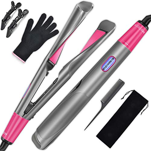 MSTECH Hair Straightener and Curler 2 in 1 -...