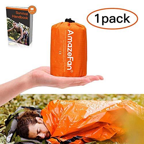 AmazeFan Notfallzelt, Biwaksack Survival Schlafsack warm Outdoor Tube Zelt wasserdicht leicht hitzeabweisend Kälteschutz Ultraleicht Rettungszelt für Camping im Freien und Wandern