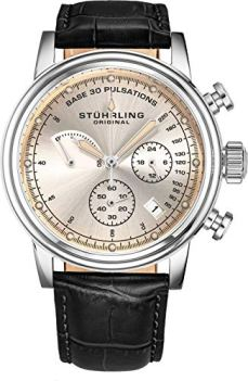 Stuhrling Original Mens Leather Watch Chronograph Pulsometer - Stainless Steel Case - Analog Dial with Date ChronoPulse Watches for Men Collection (Black)