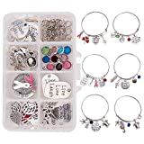 SUNNYCLUE 1 Box DIY 6PCS Expandable Wire Charm Bracelet Jewelry Making Starter Kit with 2.6inch(65mm) Blank Adjustable Bangle Charm Pendant Beads Craft Jewelry Findings for Women Girls, Instruction