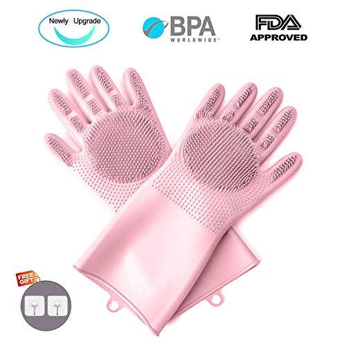 YGZN Guanti in Silicone,Dishwashing Gloves, Magico Guanti per Lavapiatti con Lavaggio Scrubber...