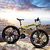 24 inch Folding Mountain Bike for Men/Women 21 Speed Adults Bicycle Dual Disc Brake Shock Absorber Front Suspension Fork, 3 Knife Wheel (Yellow)