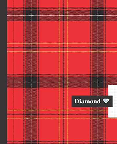 CUADERNO ESCOLAR: Bonito cuaderno de hoja cuadriculada DIAMOND | Tamaño especial para la mochila o cartera del colegio | 120 páginas de Papel ... | Patrón falda escocesa. Cuadros rojos.