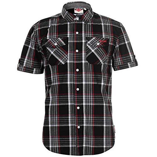 Lee Cooper Herren-Hemd, kariert, Schwarz/Weiß/Rot Gr. L, schwarz /...