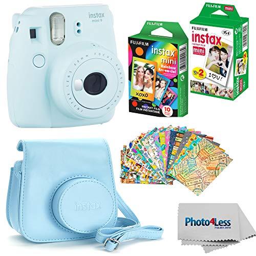 Fujifilm Instax mini 9 Instant Film Camera (Ice Blue) - Fujifilm Instax Mini Instant Film, Twin Pack - Fujifilm Instax Mini Rainbow Film - Case for Fuji Mini Camera  Fuji Instax Accessory Bundle