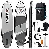 Abahub Inflatable SUP, Wide 10'6' x 34' x 6' iSUP, Gray Standup Paddleboard with Adjustable Carbon Fiber Paddle, Kayak Seat, for Yoga, Paddle Board, Kayaking, Surf, Canoe, Fishing