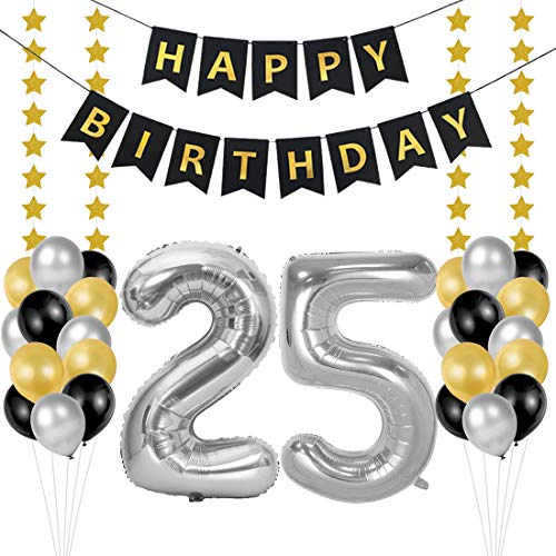 Globos 25 Cumpleaños, decoracion 25 años, Happy Birthday B