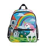 Mochila para niños y niñas Mini Mochila Bolsa de Viaje con Clip en el Pecho Castillo Unicornio Arco Iris