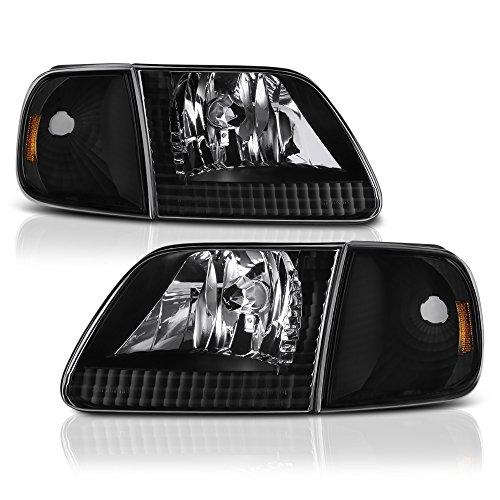 VIPMOTOZ For 1997-2003 Ford F-150 Headlights & Turn Signal Cornering Lamps - Matte Black Housing, Driver and Passenger Side