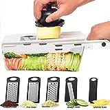 LHS Mandoline Slicing Tool, Mandoline Slicer vegetable with Container, 5 in 1 Handheld Veggie Slicer Cutter Shredder Grater and Julienne - Kitchen Manual Food Slicer for Fruits and Veggie