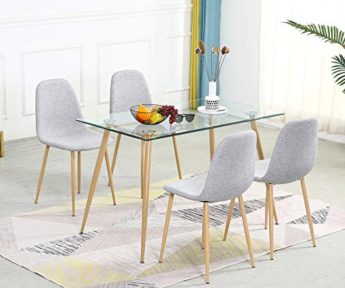 Dining Table Set for 4 Modern 5 Pieces Dining Room Set - Rectangle Tempered Glass Table and 4 Grey Fabric Dining Chairs - Kitchen Table and Chairs for Dining Room and Kitchen (Table + 4 Chairs)