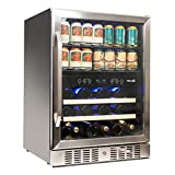 """NewAir 24"""" Wine and Beverage Refrigerator Cooler, 20 Bottle and 70 Can Capacity, Built-in or Freestanding Dual Zone Fridge in Stainless Steel with Splitshelf AWB-400DB"""