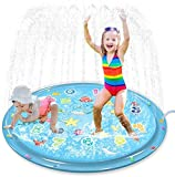 Jasonwell Sprinkler for Kids Splash Pad Play Mat 60' Baby Wading Pool for Toddlers Summer Outdoor Water Toys Kids Sprinkler Pool for Boys Girls Children Numbers Learning Age 1 2 3 4 5 6 7 8