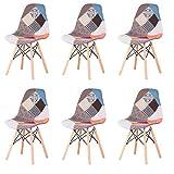 EGOONM Lot de 6 Chaise de Salle à Manger Multicolor Patchwork,Chaises en...