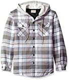 Wrangler Authentics Men's Long Sleeve Quilted Lined Flannel Shirt Jacket with Hood, Cloud Burst with Gray, Large