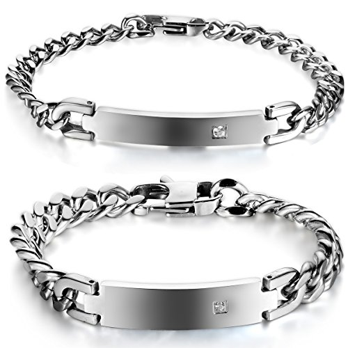 JewelryWe Schmuck 2 Poliert Edelstahl Unisex Armbänder Panzerarmband Partnerarmband Armkette...