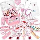 Vanplay Arztkoffer Kinder Holz Rosa Medizinische Kit Mit Arztkittel und Stethoskop für Kinder Junge Mädchen über 3 Jahre (43Stk)