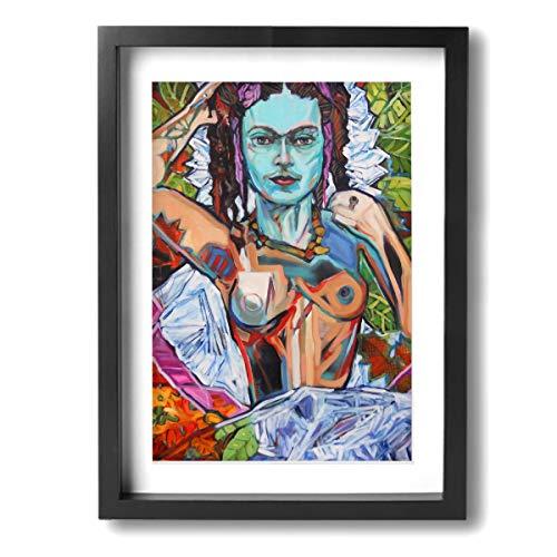 Pintura C Frida Kahlo Mexicana Folk Wall Art Pintura Paisaje Lienzo Impresiones Enmarcada para Salón Dormitorio Baño 12x16 Pulgadas, Madera, Negro, Talla única
