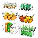 FINEW Kühlschrank Organizer 6er Set (4 Große/2 Mittel), Hochwertig Speisekammer Vorratsbehälter mit Griff, Durchsichtig Aufbewahrungsbox Organizer, ideal für Küchen, Kühlschrank, Schränke -BPA Frei