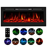 U-MAX 50' in-Wall Recessed Mounted Electric Fireplace Insert with Touch Screen Control Panel, 9 Colours Flame & Remote Control, 750/1500W Heater with Timer, Black