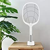 Star Products Mosquito Killer Racket Rechargeable Handheld Electric Fly Swatter Mosquito Killer Racket Bat with UV Light Lamp Racket USB Charging Base, Electric Insect Killer (Bat), White