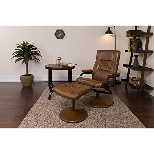 Flash Furniture Contemporary Multi-Position Recliner and Ottoman with Wrapped Base in Palimino LeatherSoft