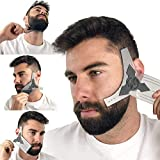 Beard Shaping Tool Guide & Bamboo Comb Grooming Kit for Men's Care | Valentines Gift Barber Pencil | Best Shaper Template Great for Lineup & Edging | Multi Liner Stencil Works w/Any Trimmer or Razor