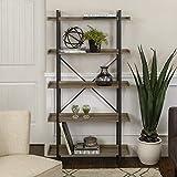 WE Furniture 68' Urban Pipe Bookshelf, Driftwood