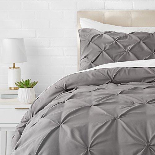 AmazonBasics Pinch Pleat Comforter Set, 200 x 200 cm, Dunkelgrau