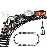 Remote Control Train Set with Smoke, Sound and Light, RC Train Toy Under Christmas Tree, Gifts for 2 3 4 5 + Year Old Boys and Girls