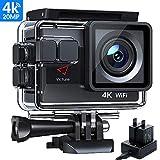 Victure AC800 Cámara Deportiva Wi-Fi 4K Ultra HD 20MP (Action Camera Acuatica de 40M con 2 Baterías y Cargador Externo, Funciones Anti-Shaking y Time Lapse)