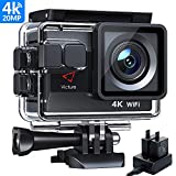 Victure AC800 4K Ultra HD Action Camera, PC Webcam, 40M Underwater 170° Wide-Angle Lens Sports Camera, Extra Outlet Charger for 2 1050mAh Rechargeable Batteries and Mounting Accessories Kit Included