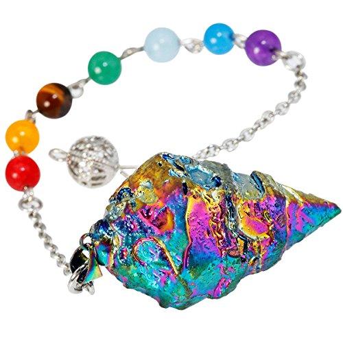 TUMBEELLUWA Healing Crystal Quartz 7 Chakra Pendulum Dowsing...