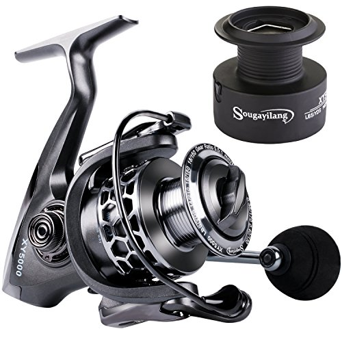 Sougayilang Fishing Reel 13+1BB Light Weight Ultra Smooth Aluminum Spinning Fishing Reel with Free...