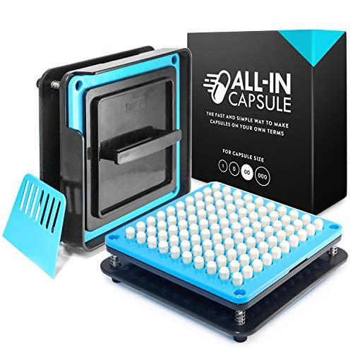 ALL-IN Capsule Macchina riempimento capsule vuote 00 – Riempi le tue capsule gelatina vuote in maniera facile e veloce - Macchina capsule con chiare istruzioni video