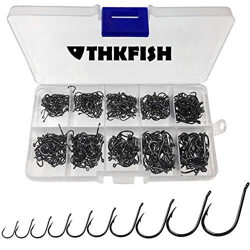 THKFISH Ami da Pesca Acqua Dolce Acciaio al Carbonio Ami da Pesca con Scatola di plastica Ami da Pesca Eyed Ami da Pesca 10Taglie 500pezzi