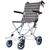 RR-YRL Ultra-Light Transport Wheelchair, Portable Folding Travel Wheelchair with Handbrake, Aluminum Alloy Frame, Suitable for The Elderly and Children, Weighs Only 6.9Kg