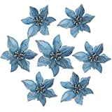 GCDN 10 Piezas Flores Artificiales Brillo Flor de Pascua decoracin del rbol de Navidad Maceta Flores Decorativas decoracin del Partido