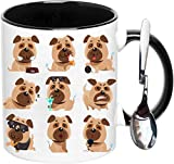 Pug Mug,Pug Dog Coffee Mug With Spoon,Funny Interesting Ceramic Porcelain Tea Mug,For Boyfriend,Girlfriend, Mom, Daddy, Wife, Husband, 11oz 325ML