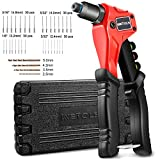 WETOLS Rivet Gun with 120 Pcs Rivets, Manual Rivet Gun Kit with 4 Manual Interchangeable Rivet Heads and 4 Twist Drills Attached, Sturdy Blow Molded Case WE-888