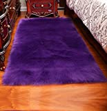 Luxury Soft Faux Sheepskin Fur Area Rugs,Small Faux Fur Rug for Bedroom Living Room Purple - 2x3ft