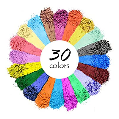 A VARIETY OF VIBRANT COLORS: Our mica powder set offers 30 various colors , Vibrant, No duplicating color. These rein coloring pigments powder are perfect for creating bright beautiful crafts, you don't have to worry about it throwing off the balance...