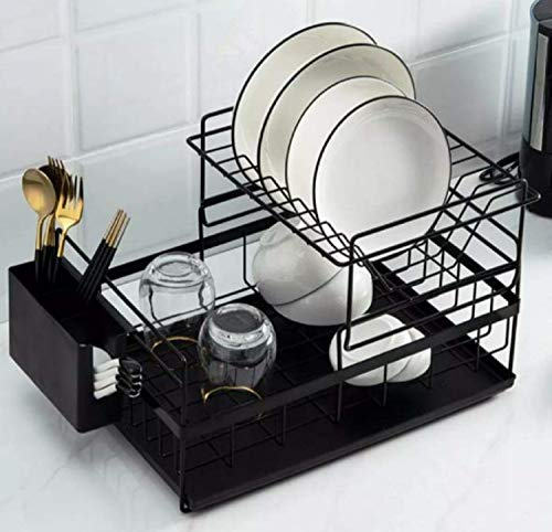 Home Cloud Kitchen Dish Rack Steel |Dish Drainer | Steel Drying Rack with Removable Drain Board,...