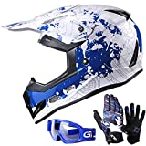 GLX Unisex-Child GX623 DOT Kids Youth ATV Off-Road Dirt Bike Motocross Helmet Gear Combo Gloves Goggles for Boys & Girls (Modern, Medium)